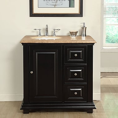 Silkroad Exclusive 36'' Single Sink Bathroom Vanity Set w/ Sink on Left