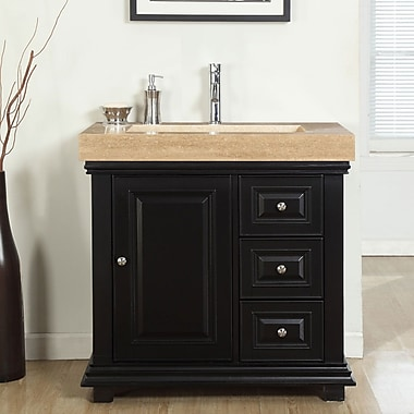 Silkroad Exclusive 36'' Single Integrated Bathroom Vanity Set w/ Drain on Left