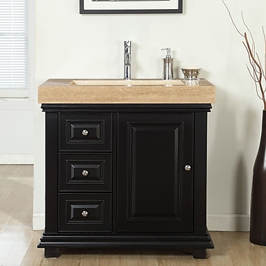 Silkroad Exclusive 36'' Single Integrated Bathroom Vanity Set w/ Drain on Right