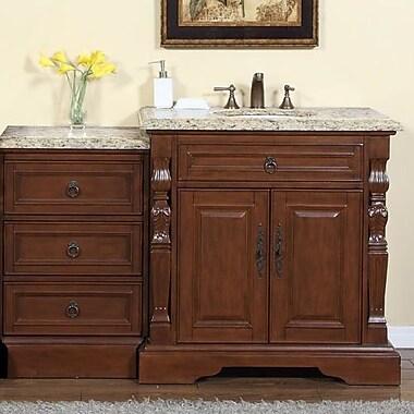 Silkroad Exclusive 55.5'' Single Sink Bathroom Modular Vanity Set; Venetian Gold Granite Stone