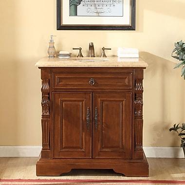 Silkroad Exclusive 36'' Single Sink Bathroom Vanity Set; Travertine Stone
