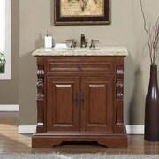 Silkroad Exclusive 36'' Single Sink Bathroom Vanity Set; Venetian Gold Granite Stone