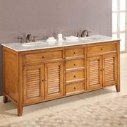 Direct Vanity Sink Mission Double Sink 70'' Bathroom Vanity Set; Carrera White Marble