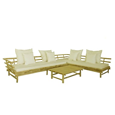 ZEW Bamboo 3 Piece Deep Seating Outdoor Couch w/ Cushion