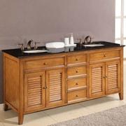 Direct Vanity Sink Mission Double Sink 70'' Bathroom Vanity Set; Black Granite