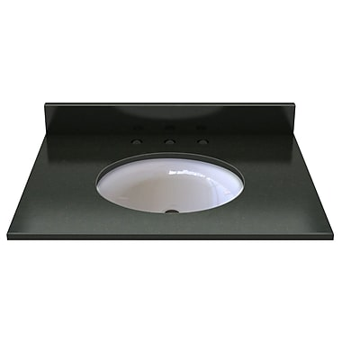 Sagehill Natural Stone 31'' Single Bathroom Vanity Top; Midnight Black