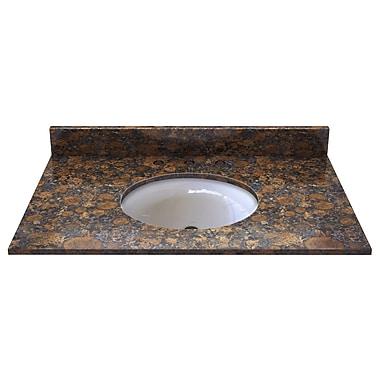 Sagehill Natural Stone 37'' Single Bathroom Vanity Top; Sable Brown