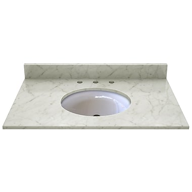 Sagehill Natural Stone 37'' Single Bathroom Vanity Top; Carrera White