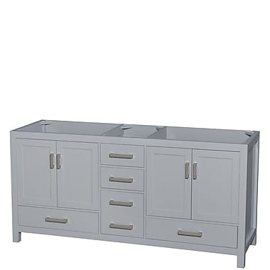 Wyndham Collection Sheffield 72'' Double Bathroom Vanity Base; Gray