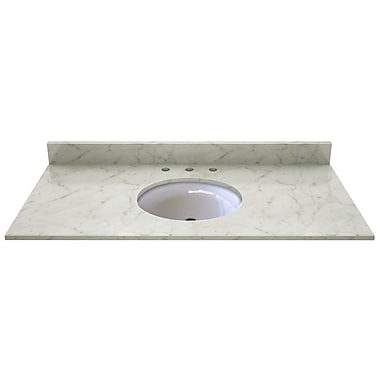 Sagehill Natural Stone 49'' Single Bathroom Vanity Top; Carrera White