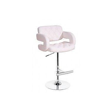 VIG Furniture Modrest Adjustable Height Swivel Bar Stool with Cushion; White