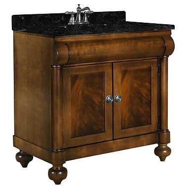 Kaco John Adams 36'' Single Bathroom Vanity Set; Black Granite