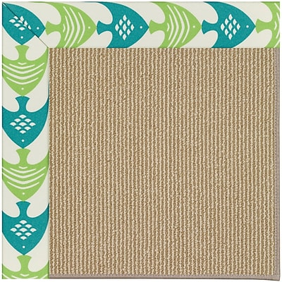 Capel Zoe Machine Tufted Angel Fish Green and Beige Indoor/Outdoor Area Rug; Square 10'