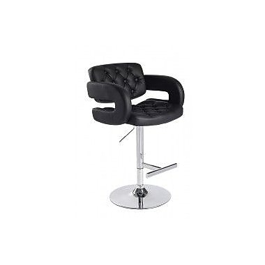 VIG Furniture Modrest Adjustable Height Swivel Bar Stool with Cushion; Black