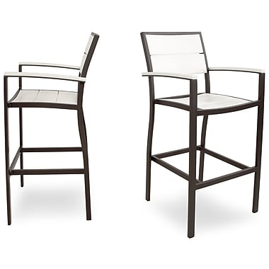 Trex Surf City 46'' Bar Stool (Set of 2); Textured Bronze / Classic White