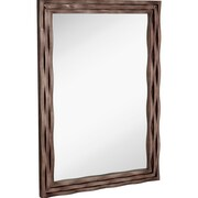 Majestic Mirror Large Modern Rectangular Mirror w/ Smoked Chrome Wavy Frame