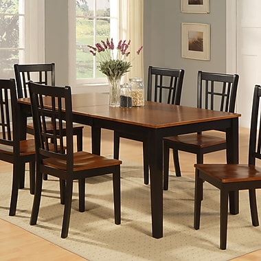 East West Nicoli Dining Table; Black and Saddle Brown Cherry