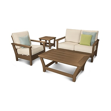 POLYWOOD Harbour 4 Piece Deep Seating Group w/ Sunbrella Cushion; Teak / Antique Beige