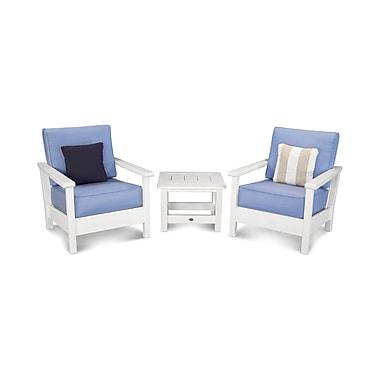 POLYWOOD Harbour 3 Piece Deep Seating Group w/ Sunbrella Cushion; White / Air Blue