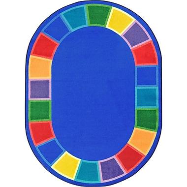 Joy Carpets Kid Essentials Blue Indoor/Outdoor Area Rug; Round 7'7''