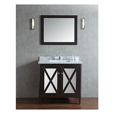Ariel Bath Summit 36'' Single Bathroom Vanity Set w/ Mirror; Espresso