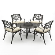 SunTime Outdoor Living Oregon 5 Piece Dining Set w/ Cushion and Firepit
