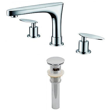American Imaginations Double Handle Off Center Brass Faucet Set w/ Drain