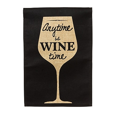 Evergreen Enterprises, Inc Anytime is Wine Time Vertical Flag