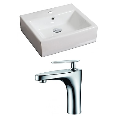 American Imaginations Rectangular Vessel Bathroom Sink w/ Overflow