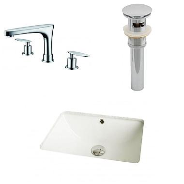 American Imaginations Rectangular Undermount Bathroom Sink w/ Overflow; Biscuit