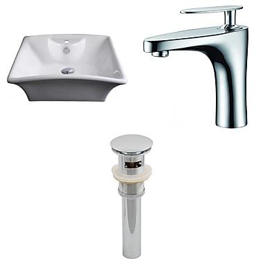 American Imaginations Ceramic Rectangular Vessel Bathroom Sink w/ Faucet and Overflow