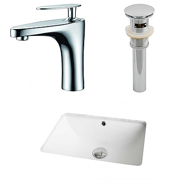 American Imaginations Ceramic Rectangular Undermount Bathroom Sink w/ Faucet and Overflow; White