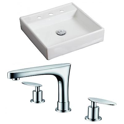 American Imaginations Ceramic Square Vessel Bathroom Sink w/ Faucet