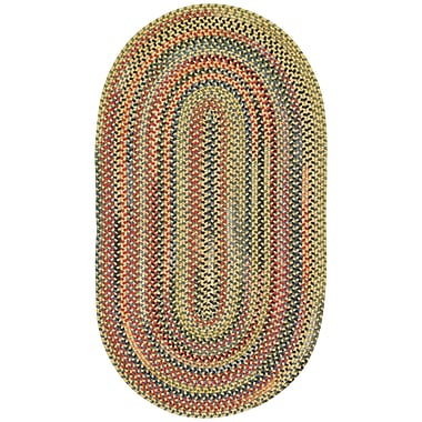 Capel High Rock Yellow Striped Area Rug; Oval 2' x 3'