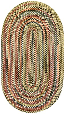 Capel High Rock Yellow Striped Area Rug; Oval 11'4'' x 14'4''