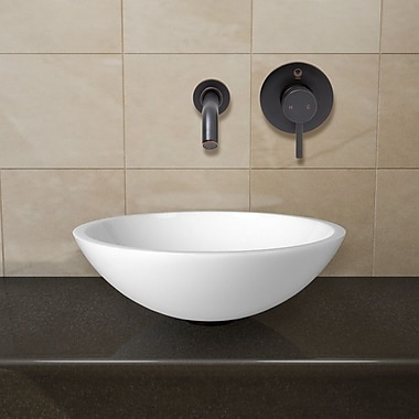 Vigo Flat Edged Phoenix Stone Circular Vessel Bathroom Sink; Antique Rubbed Bronze