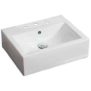 American Imaginations Ceramic 21'' Wall Mount Bathroom Sink w/ Faucet and Overflow