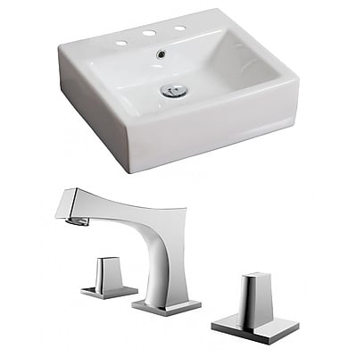 American Imaginations Ceramic Rectangular Vessel Bathroom Sink w/ Faucet and Overflow