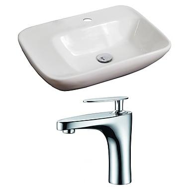 American Imaginations Ceramic 24'' Wall Mount Bathroom Sink w/ Faucet