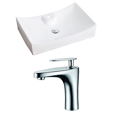 American Imaginations Ceramic Rectangular Vessel Bathroom Sink w/ Faucet
