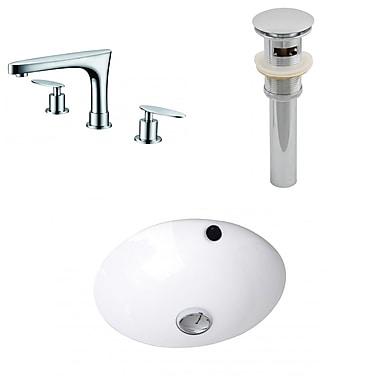 American Imaginations Ceramic Circular Undermount Bathroom Sink w/ Faucet and Overflow