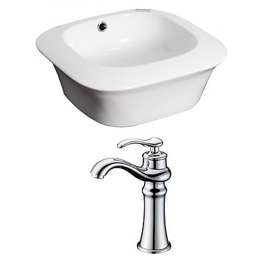 American Imaginations Ceramic Square Vessel Bathroom Sink w/ Faucet and Overflow