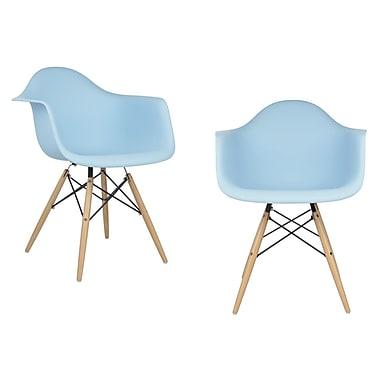 eModern Decor Mid Century Modern Scandinavian Solid Wood Dining Chair (Set of 2); Light Blue