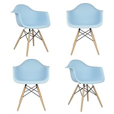 eModern Decor Mid Century Modern Scandinavian Solid Wood Dining Chair (Set of 4); Light Blue