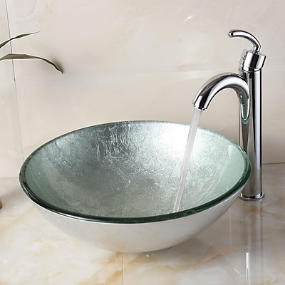 Elite Hand Painted Glass Circular Vessel Bathroom Sink; Chrome