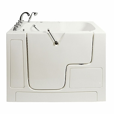 Ella Walk In Bath Wheelchair Access 51.5'' x 40.25'' Air Massage Whirlpool Bathtub; Left Hand