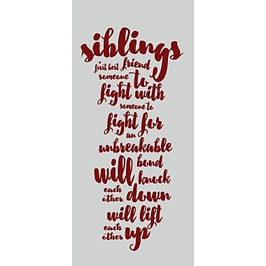 SweetumsWallDecals Siblings Wall Decal; Cranberry