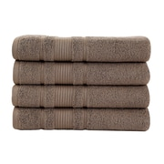 Berrnour Home Solomon Luxury Bath Towel (Set of 4); Brown