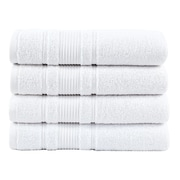 Berrnour Home Solomon Luxury Bath Towel (Set of 4); White