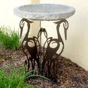 Stone Age Creations Crane Silhouette Birdbath; Charcoal